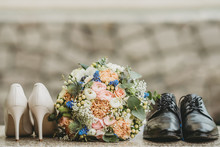 Wedding Concept Bridal Flower Bouquet With Wedding Shoes