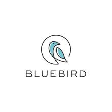 Blue Bird Line Vector Logo Design