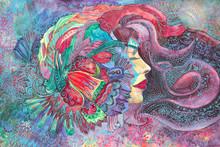 Dipinto Bella Donna Acquerello Creativo