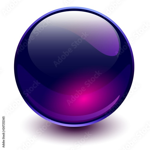 Fototapety, obrazy: Glass sphere purple, vector shiny ball.