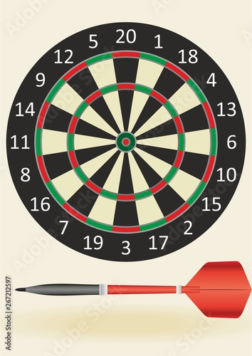 Darts. Vector illustration. Darts advertising, design template for your projects. Success hitting target aim goal achievement concept background - three darts in bull's eye close up. red three darts a