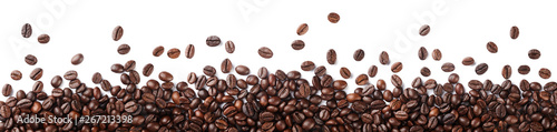 Stickers pour portes Café en grains Coffee beans border isolated on white background.