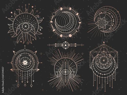 Fototapeta Vector set of Sacred geometric symbols and half moon on black grunge background