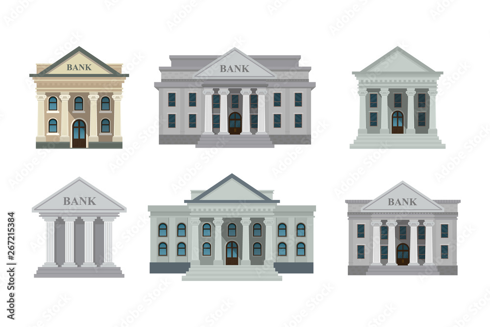 Fototapeta Bank buildings icons set isolated on white background. Front view of court house, bank, university or governmental institution. Vector illustration. Flat design style. Eps 10.