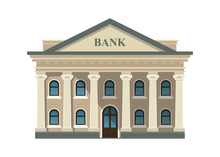 Bank Building Facade, University Or Government Institution Isolated On White Background. Architecture Building With Columns. Vector Illustration. Flat Style. EPS 10.