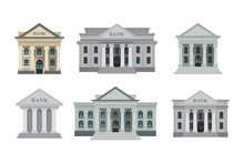 Bank Buildings Icons Set Isola...