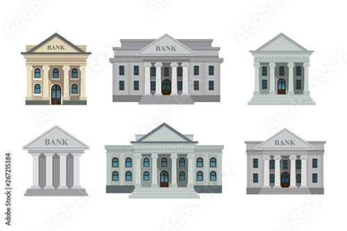 Fototapeta Bank buildings icons set isolated on white background. Front view of court house, bank, university or governmental institution. Vector illustration. Flat design style. Eps 10. obraz