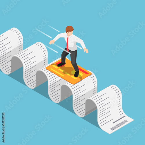 Fotomural  Isometric businessman use credit card and surfing on shopping receipt