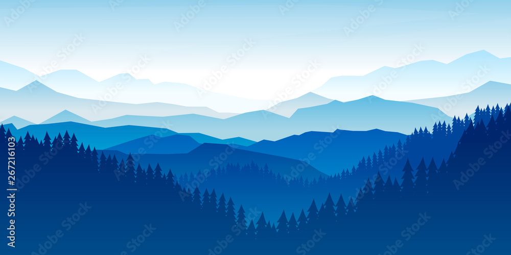 Fototapety, obrazy: Peaceful landscape. Vector illustration. Minimalist style. Monotone colors. Wallpaper in the natural concept. Silhouettes of the mountains. Slopes, relief. Panoramic image