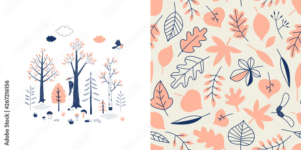 Fototapety, obrazy: Forest wildlife childish fashion textile graphics set with t-shirt print and accompanied tileable background in decorative Scandinavian style. Woody landscape scene illustration. Woodland Tree Leaves