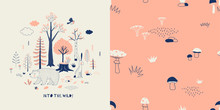 Forest Wildlife Childish Fashion Textile Graphics Set With T-shirt Print And Accompanied Tileable Background In Decorative Scandinavian Style. Woody Landscape Scene With Cute Bear Hare Illustration