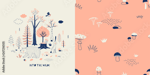 Photo  Forest wildlife childish fashion textile graphics set with t-shirt print and accompanied tileable background in decorative Scandinavian style