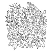 Hand Drawn Sketch Illustration Of Parrot And Sunflower For Adult Coloring Book.