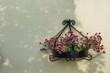 Schmiedeeiserne Blumenampel an einer Hauswand