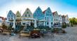 canvas print picture - Nordische Häuser und Fassaden am Marktplatz in Friedrichstadt