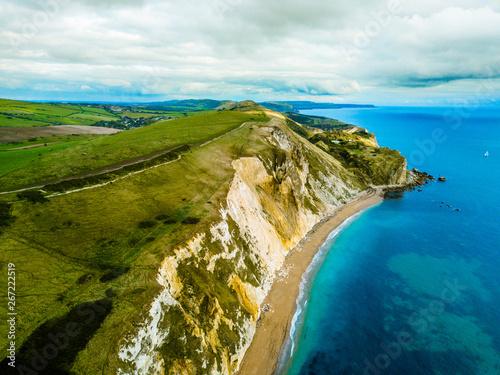 Fotografia Aerial Old Harry Rocks white cliffs aerial bournemouth, England, United Kingdom