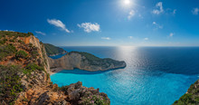 Panoramic View Of The Sun Shining Over Cliffs In Shipwreck Cove