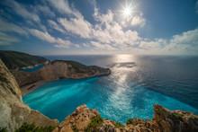 Sun Shining Over Cliffs In Shipwreck Cove