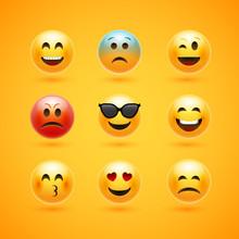 Emoticon Face Smile Vector Icon. Emotion Happy Emoji Expression Cartoon Character