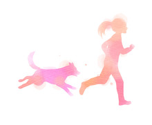 Girl Running With Dog Silhouette On Watercolor Background. The Concept Of Trust, Friendship And Pet Care. Digital Art Painting. Vector Illustration.