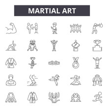 Martial Art Line Icons, Signs, Vector Set, Outline Concept, Linear Illustration
