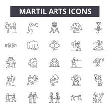 Martial Arts Concept Line Icons, Signs, Vector Set, Outline Concept, Linear Illustration