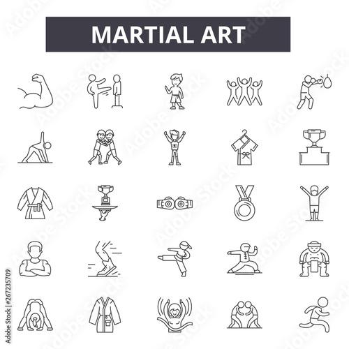 Martial art line icons, signs, vector set, outline concept, linear illustration Canvas Print