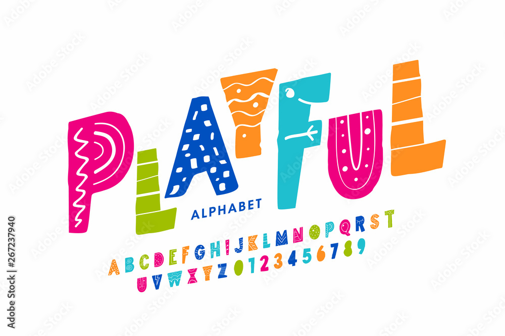 Fototapeta Playful style font design, childish alphabet letters and numbers