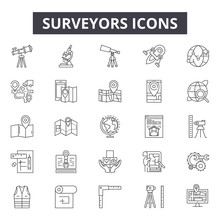Surveyors Line Icons, Signs, V...