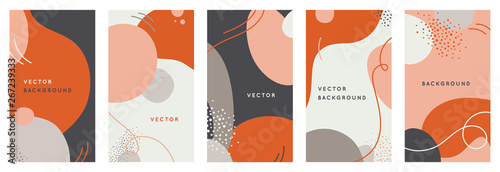 Fototapeta Vector set of abstract creative backgrounds in minimal trendy style with copy space for text - design templates for social media stories obraz