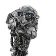 Cyborg head with visible mechanical parts, 3d rendering