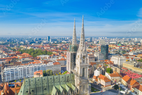 Staande foto Oude gebouw Zagreb, capital of Croatia, cathedral and city center aerial view