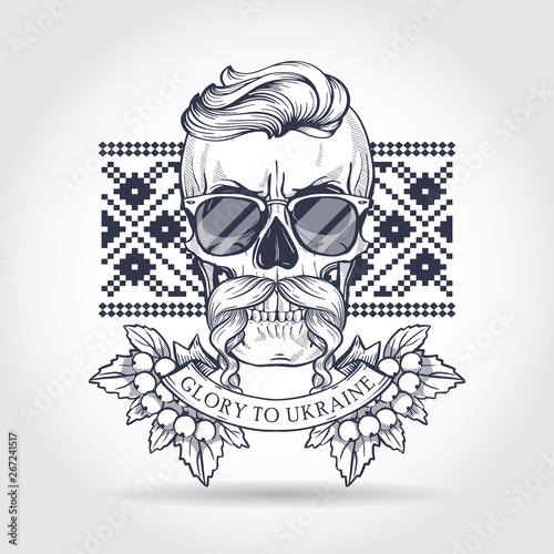 Printed kitchen splashbacks Hand drawn sketch, skull with Ukrainian embroidery pattern, mustaches, branches of viburnum, sunglasses. Poster, flyer design