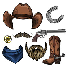 Vector Sketch Drawing Illustration Of Wild West Cowboys Symbols: Revolver, Hat, Boots With Spurs, Horseshoe, Lasso, Hunt For Wanted, Sheriff