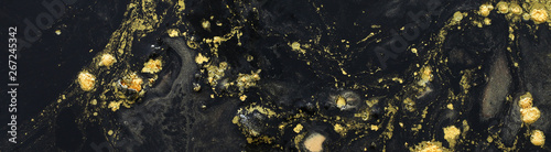 Abstract marbleized effect background. black and gold creative colors. banner - 267245342