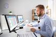 Leinwandbild Motiv Businessperson Calculating E-Invoice
