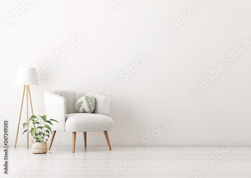 Fotografie, Obraz  Living room interior wall mockup with gray velvet armchair, round pillow with tropical pattern, standing lamp and plant in basket on empty white wall background