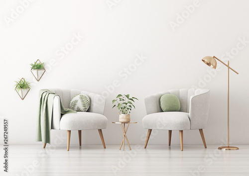 Fotografia Living room interior wall mockup with two gray armchairs, round pillow with tropical pattern, green plaid, lamp, coffee table and plants on empty white wall background