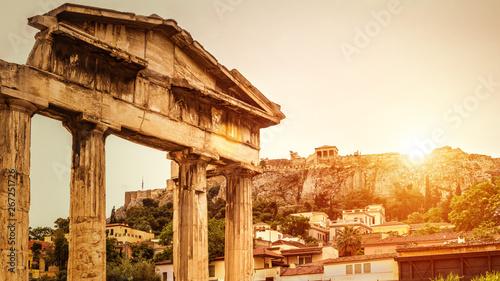 Photo  Roman Agora at sunset in summer, Athens, Greece
