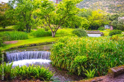 Carta da parati eden garden fairytale waterfall fountain in the Giardino di Ninfa - Cisterna di