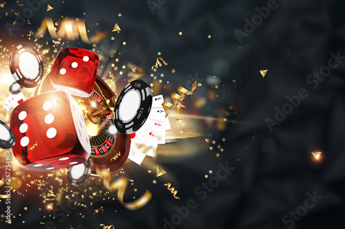 Photo  Creative background, gaming dice, cards, casino chips on a dark background