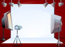 Professional Photo Session Studio Concept Banner. Cartoon Illustration Of Professional Photo Session Studio Vector Concept Banner For Web Design