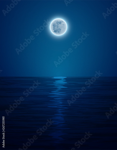 Keuken foto achterwand Volle maan Night landscape in the sea and moon