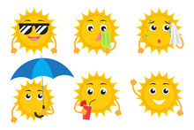 Collection Of Cartoon Sun Mascot Characters Vector Set Isolated On White Background