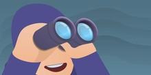 Man With Binoculars Concept Banner. Cartoon Illustration Of Man With Binoculars Vector Concept Banner For Web Design