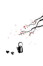 Watercolor Black Ink Wash Hand...
