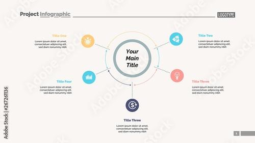 Photo  Five options process chart slide template