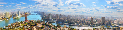 Cairo downtown on the bank of the Nile, aerial panorama