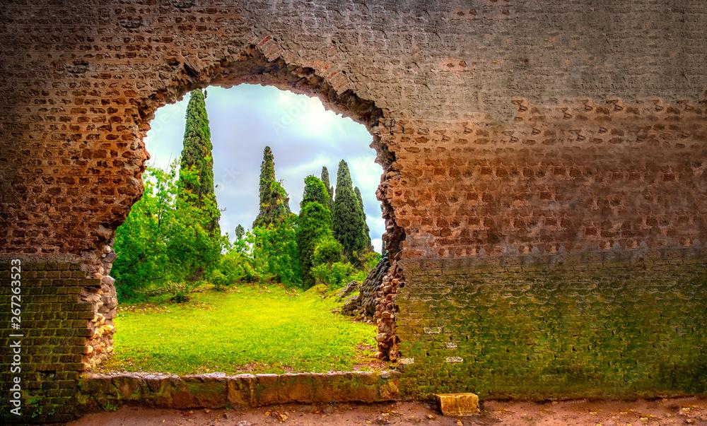 Fototapeta hole in wall garden eden gate horizontal background broken