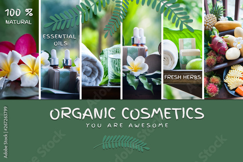Fototapeta Organic cosmetics, natural fruit oils. Photo and illustration, cartoon style.  Concept spa, skin care, ecological and organic natural cosmetics. obraz